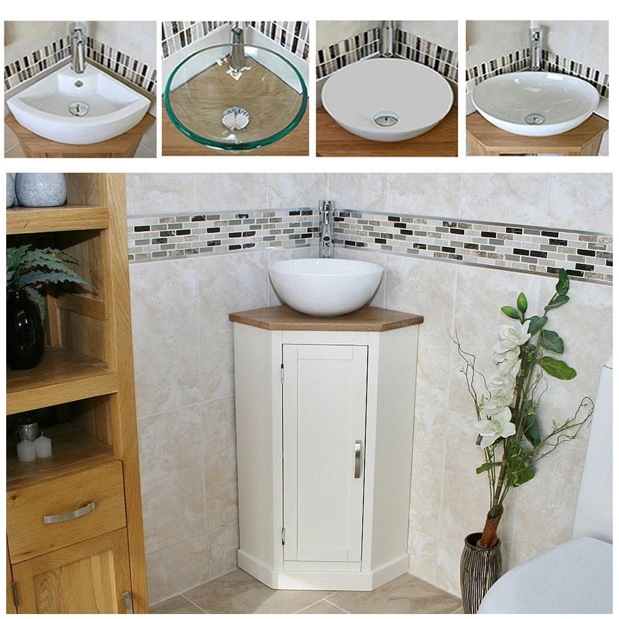 bathroom painted vanity unit corner painted sink cabinet with oak top ceramic wash basin tap plug