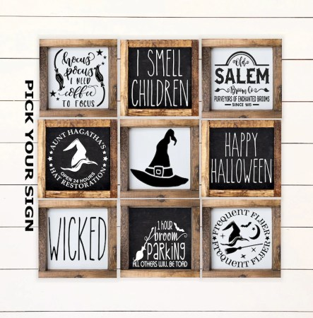 Halloween Witch Mini Sign Collection 6x6 Farmhouse image 0