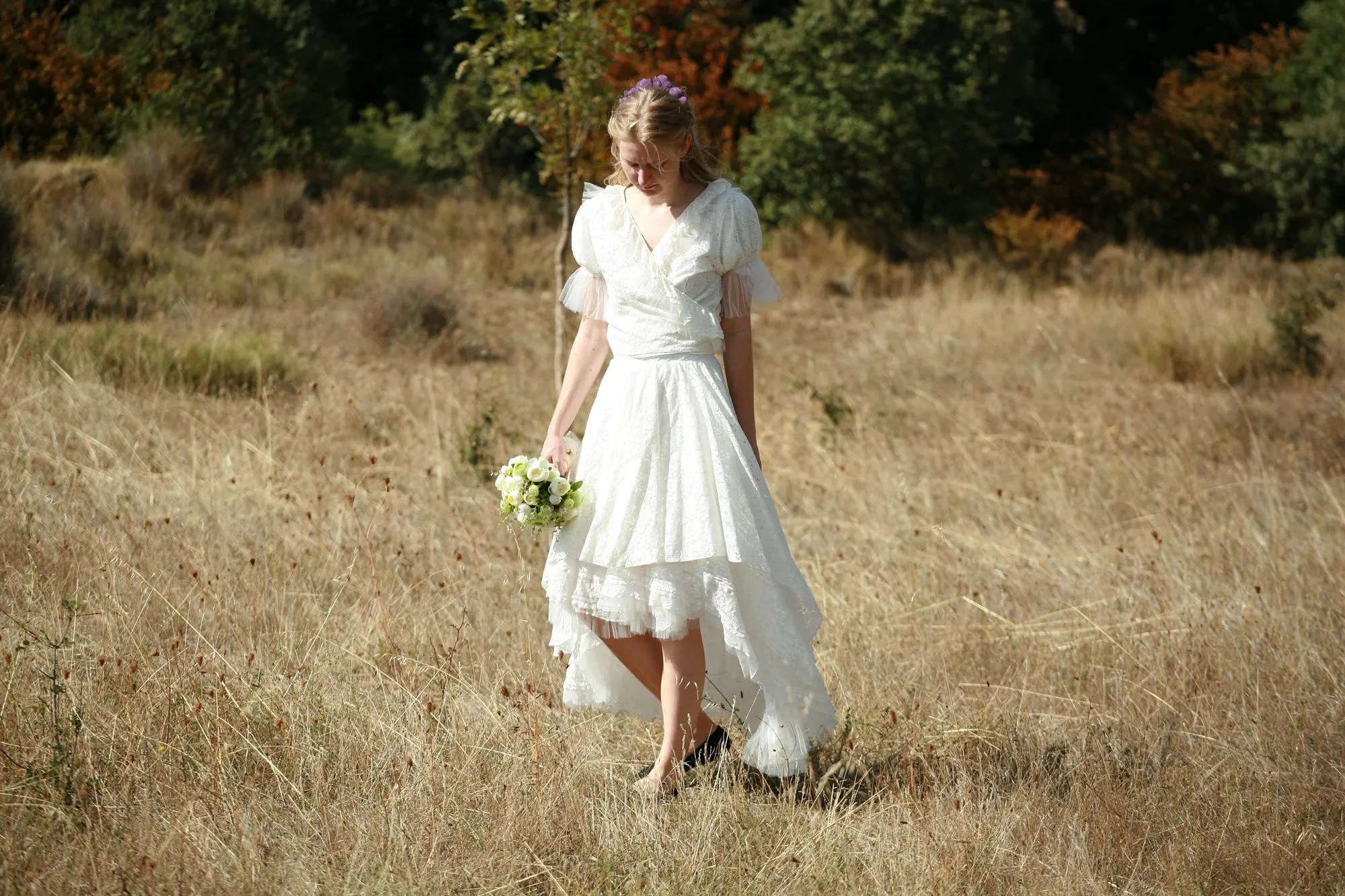 Linen And Lace Wrap Wedding Top And Skirt Wrap Wedding