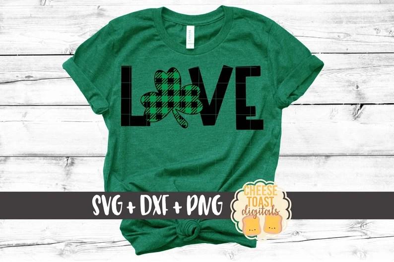 Download Love Shamrock Svg Buffalo Plaid St. Patrick's Day Svg St ...