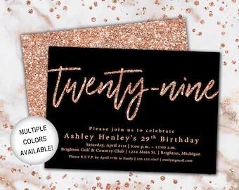 29th birthday invitation etsy