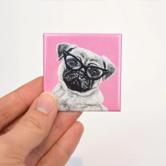 Pug Magnet. Dogs in Glasses. 2 square refrigerator | Etsy