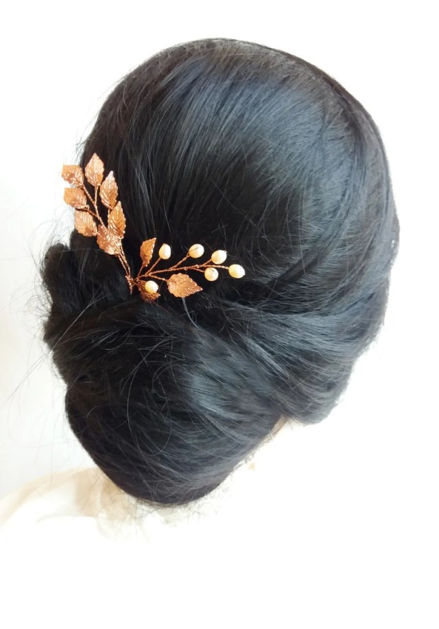 rose gold hair pins bridal hairpiece pearl hair pins gold wedding hair piece bridesmaid hair pins bridal hairstyle leaf bobby pins