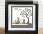 Pebble Art Family Tree Gift. Personalised Picture Handmade and Framed to Order • Sea Glass • 2 Sizes • Valentine