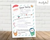 Printable Christmas Wish List / Santa Letter / Instant Download / Digital File / Holidays / PRINT AT HOME