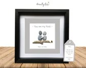 You are My Rock Pebble Art Gift • Personalised Picture Handmade & Framed to Order | Sea Glass | Friends | Valentine. Options Available