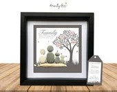 Pebble Art Family Tree Gift. Personalised Picture Handmade and Framed to Order • Sea Glass • 2 Sizes • Valentine. Options Available