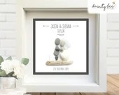 Pebble Art Wedding Gift Simple Design. Personalised Picture Handmade and Framed to Order • Sea Glass • 2 Sizes Rustic Boho Style