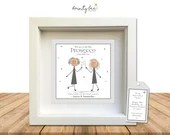Best Friend Prosecco Button Art Gift. Personalised Picture Handmade & Framed to Order • Alcohol, Options Available