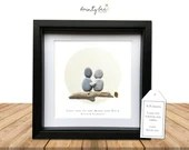 Pebble Art Love You Personalised Gift. Picture Handmade and Framed to Order. Love you to the Moon and Back • Valentine • Sea Glass. Options