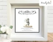 Pebble Art Wedding Scroll Gift. Personalised Picture Handmade & Framed to Order. Sea Glass • Handmade Custom Design • 2 Sizes. Rustic Boho