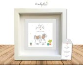 Best Friend Personalised Button Art Picture Gift. Handmade & Framed to Order • Birthday, Love, Besite, BFF, Options Available