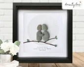 Pebble Art Love You Gift. Personalised Picture Handmade and Framed to Order. Love you to the Moon and Back • Valentine • Sea Glass