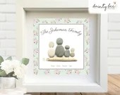 Pebble Art FAMILY Gift - Personalised Picture Handmade & Framed to Order • Floral • Sea Glass • Handmade Custom  • 2 Sizes