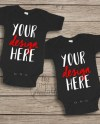 Blank Black Baby Onesie Mockup Fashion Design Styled Stock Etsy