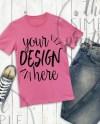 T Shirt Mockup Bella Canvas 3001 Pink Shirt On Wood Background Etsy