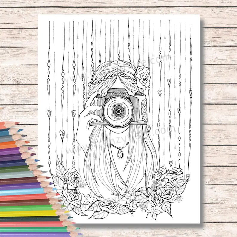 coloring pages for adults or kids. girl  camera  etsy