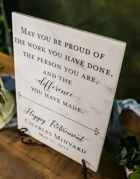 happy retirement tile plaque gift for boss colleague etsy