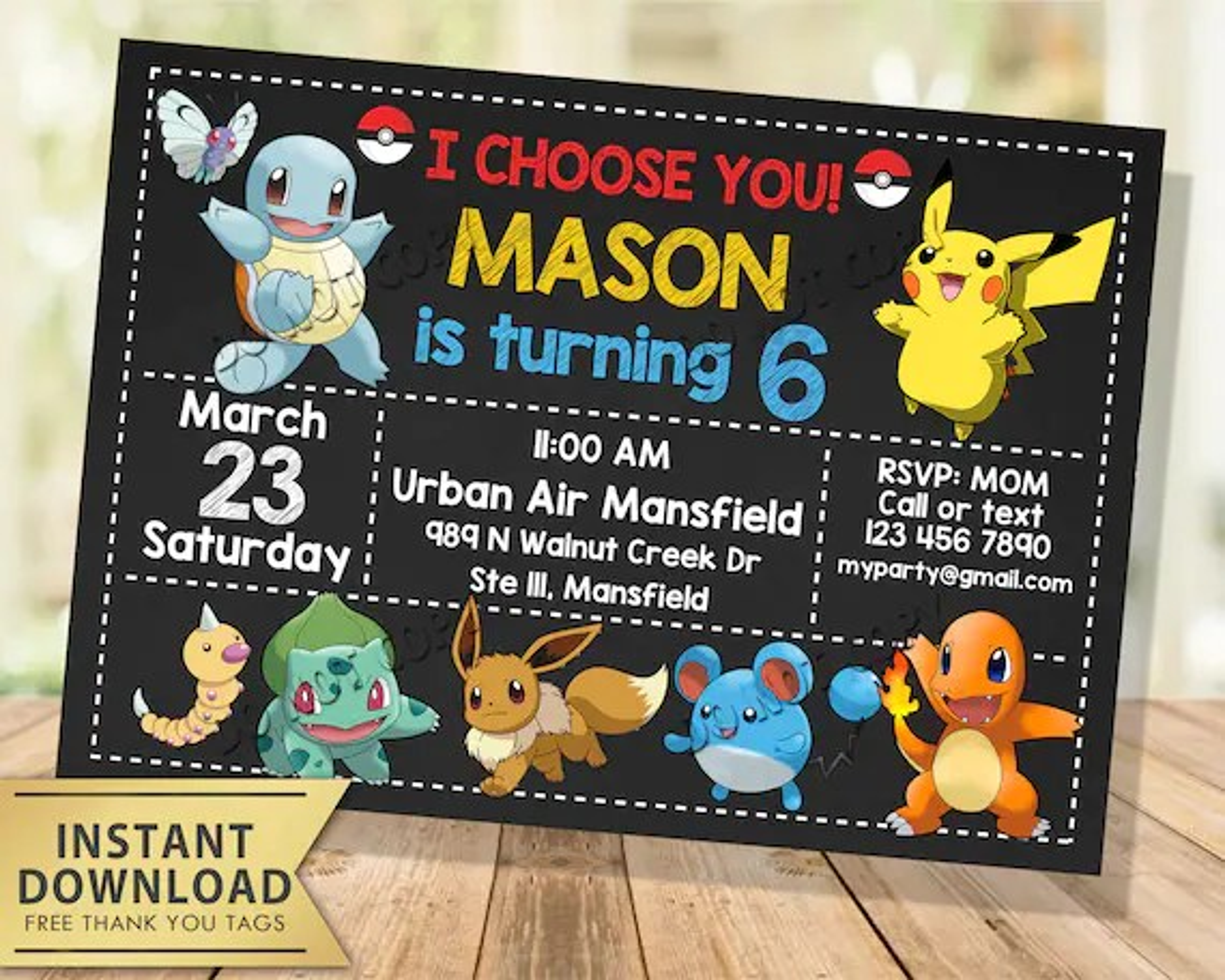pokemon invitation instant download