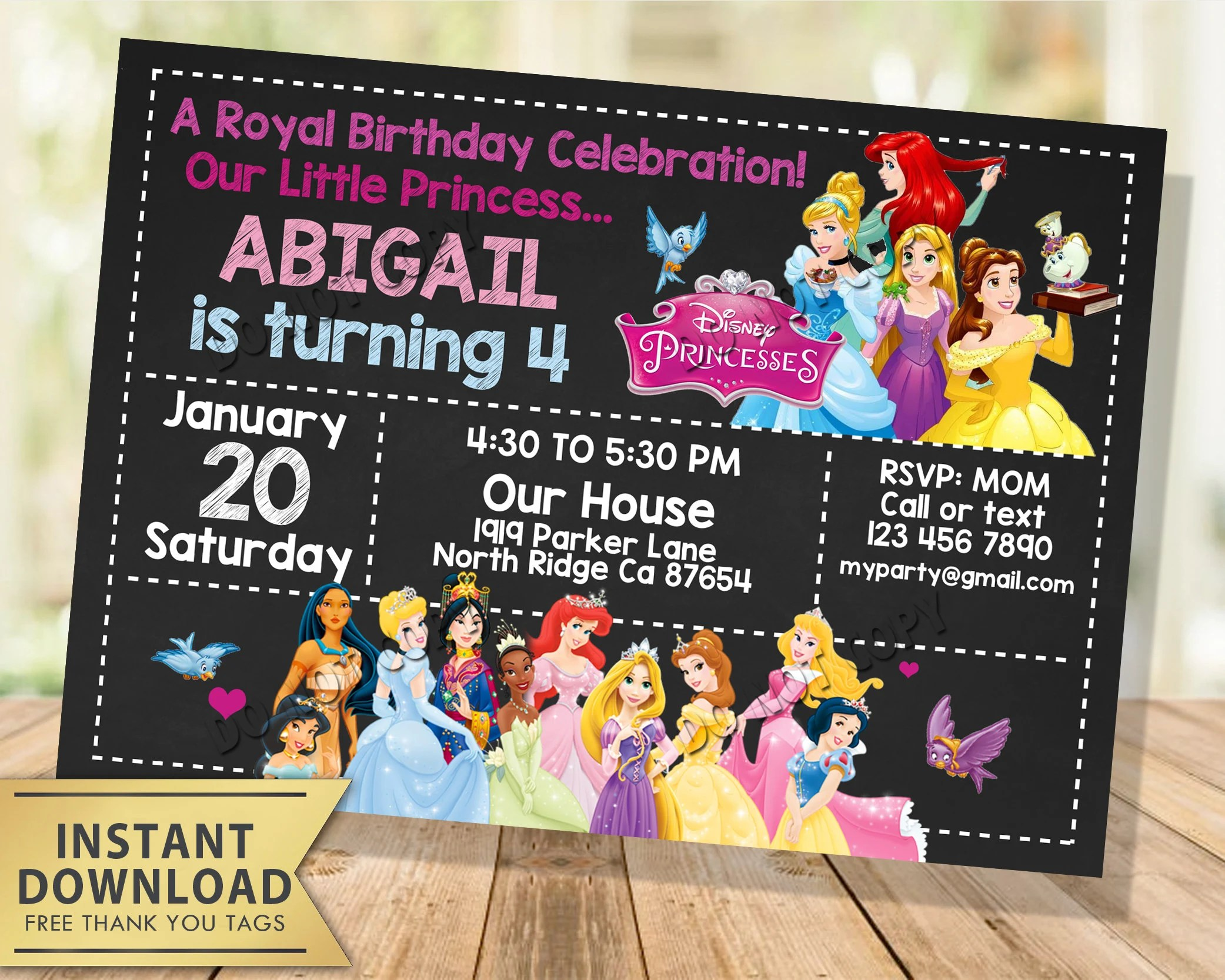 disney princess invitation instant