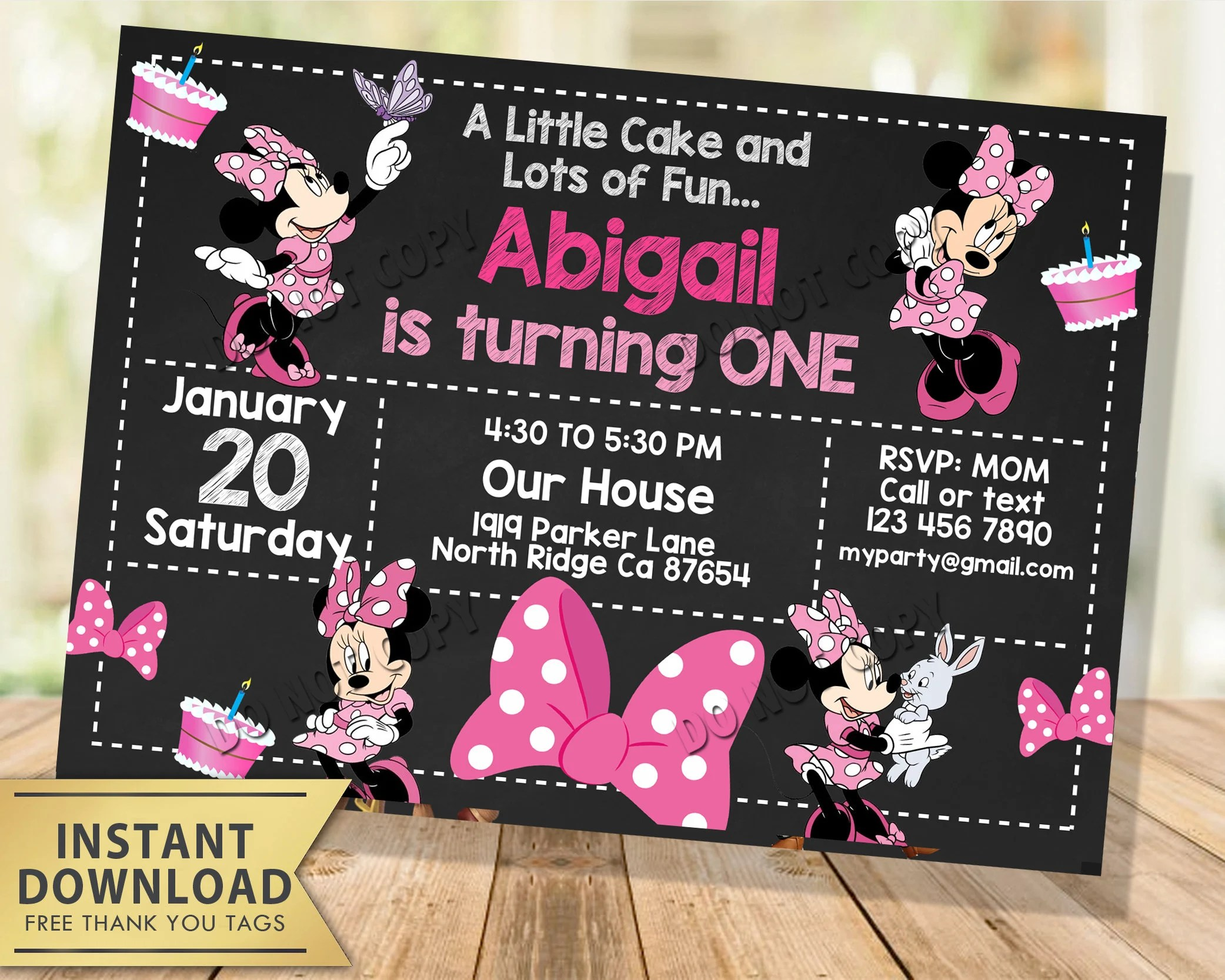 minnie mouse invitation instant
