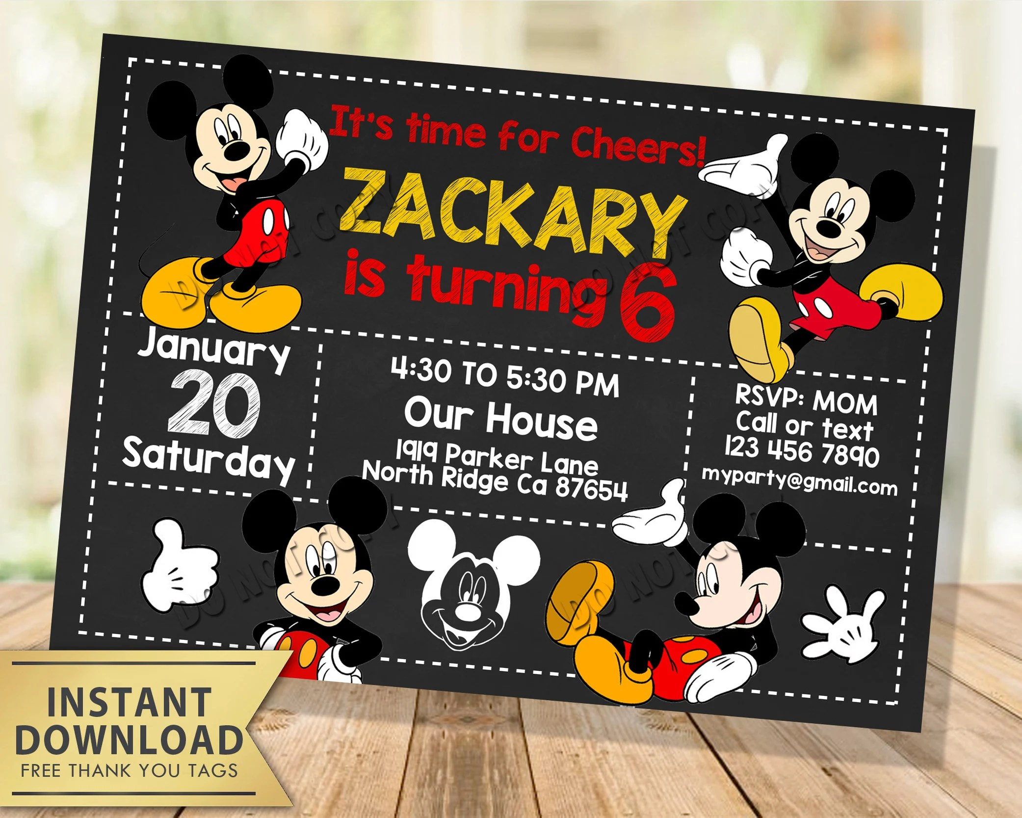 mickey mouse invitation instant