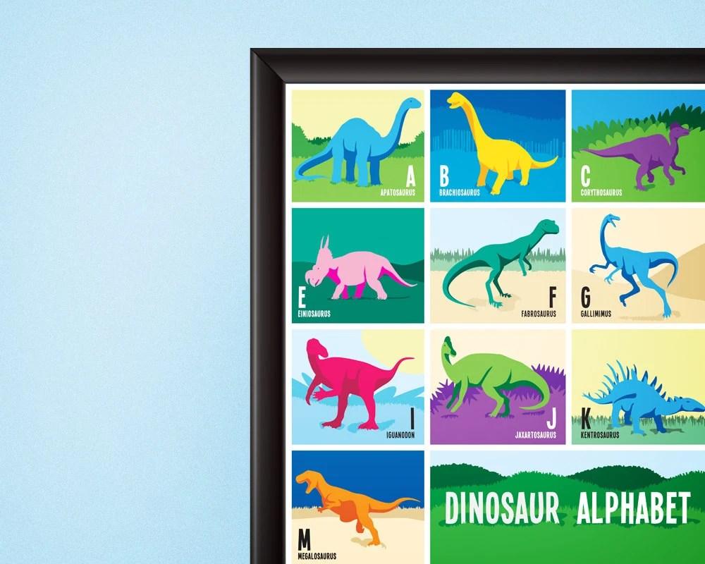 dinosaur alphabet poster digital download nursery room home decor dino a to z kids room illustration art gift