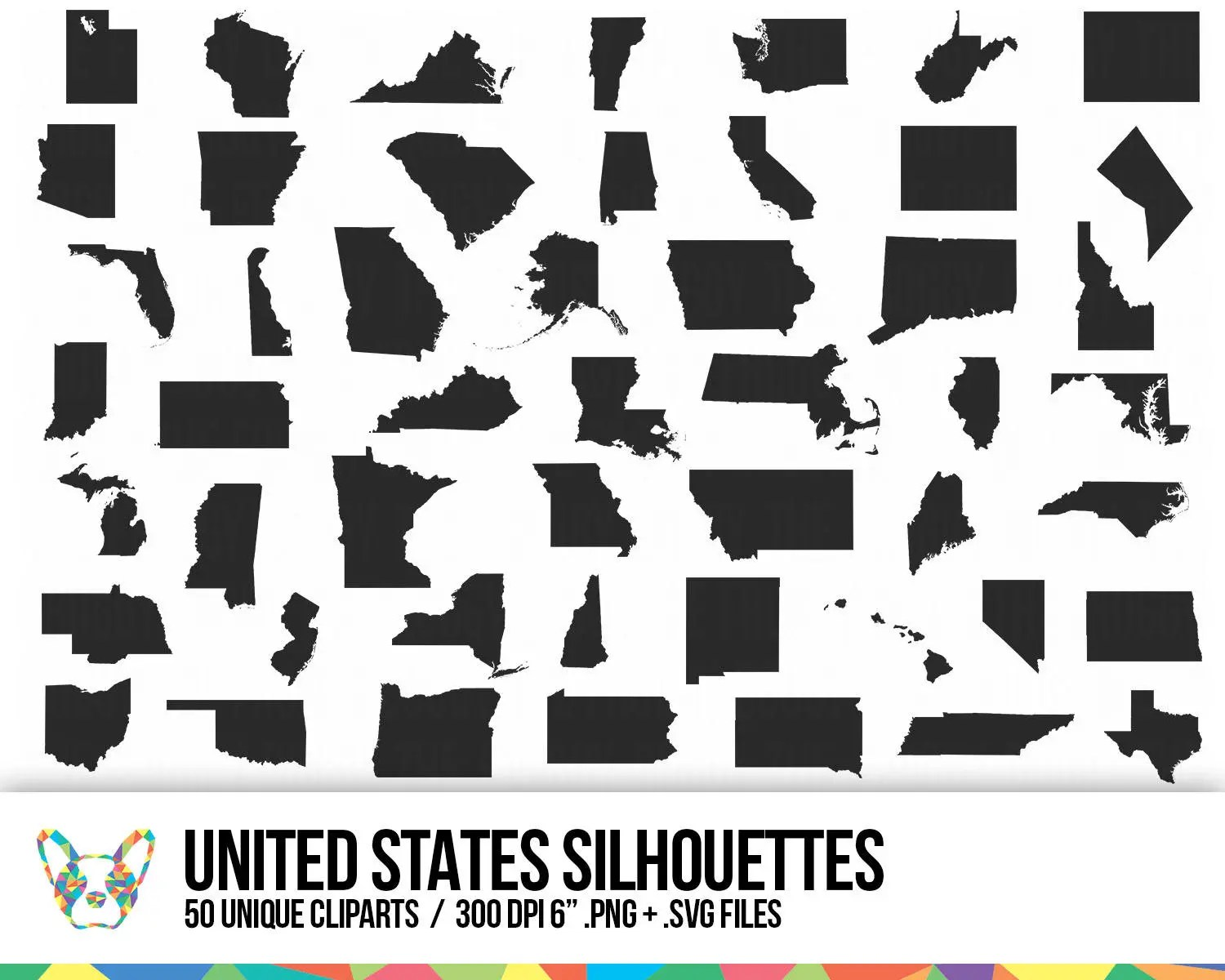 United States Clipart Collection State Shapes Vector Map