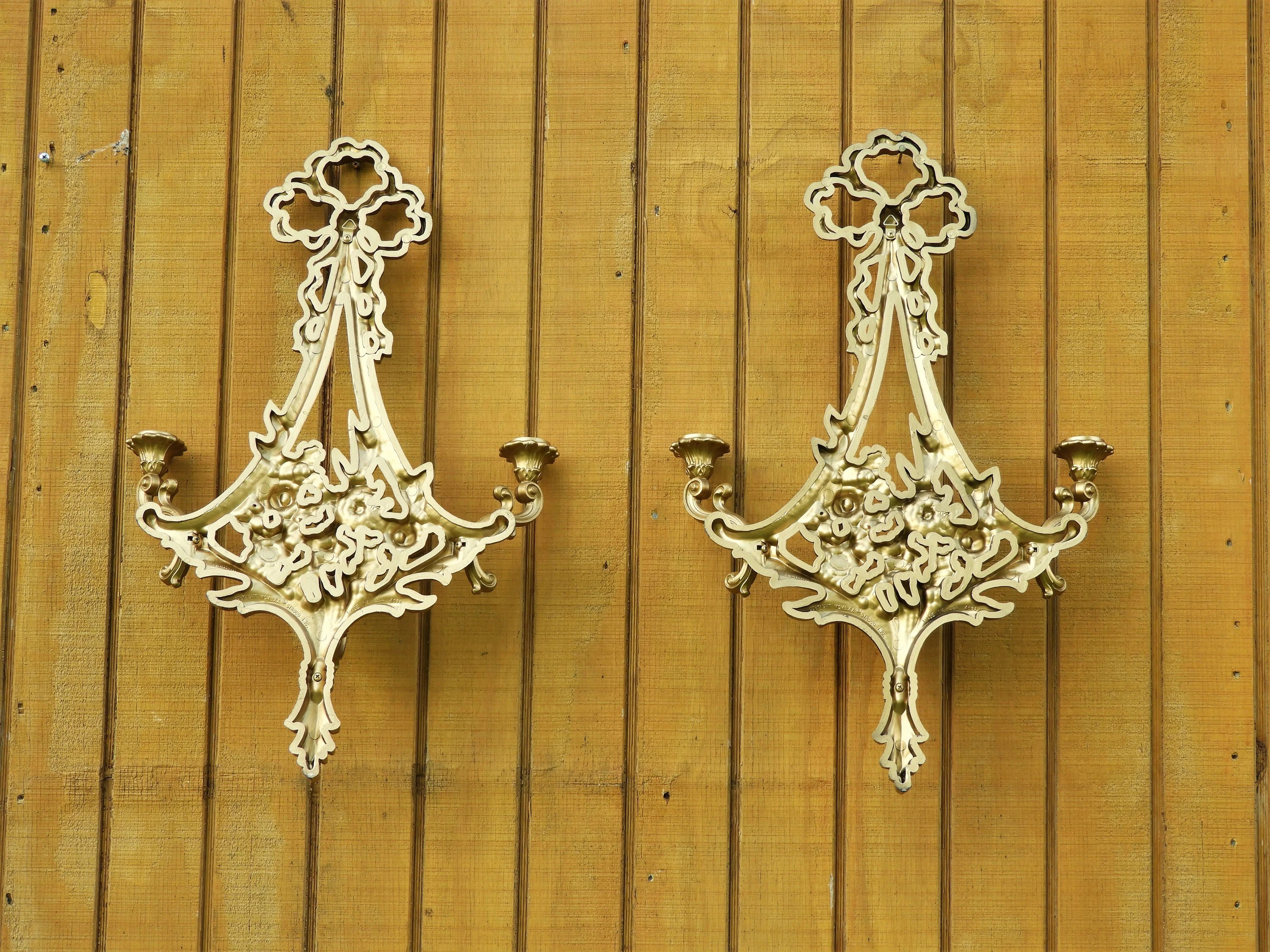 Vintage Wall Hanging Decor, Large Syroco Candelabra, Gold ... on Antique Style Candle Holder Sconces id=67677