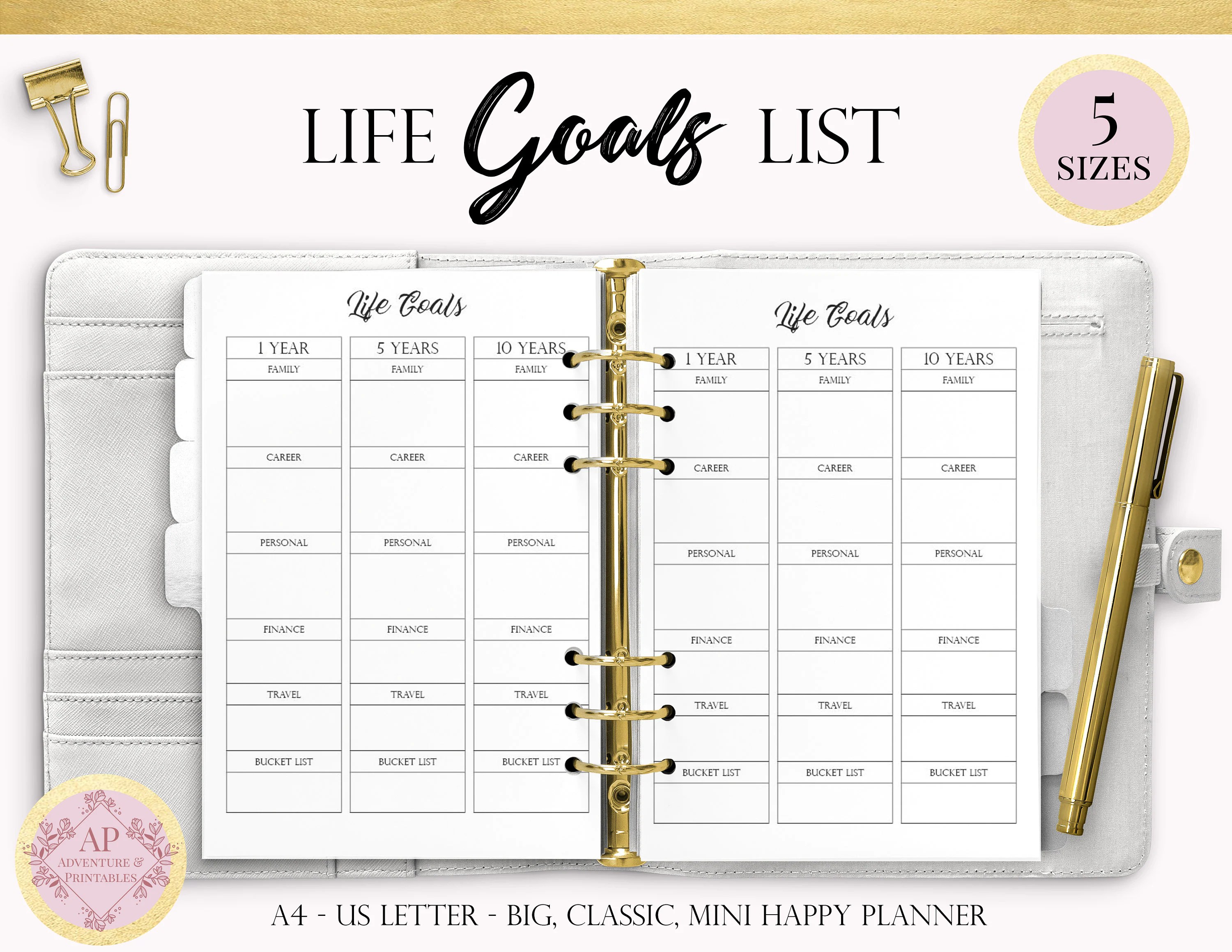 Life Goals Printable Planner Page Life Planner Long Term