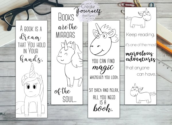 printable unicorn bookmarks # 26