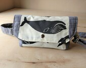 Organic cotton fanny pack - black, gray, cream-whales-All natural, no synthetics.  Bum bag, women's fanny pack, men's fanny pack, hip bag
