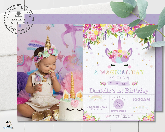 unicorn invitation editable template