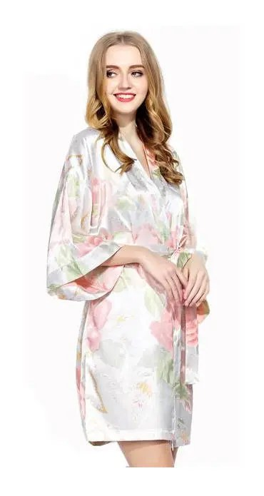Personalized Floral Satin Robe Robes Christmas Gift for Wife image 4