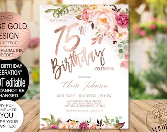 75th birthday invite etsy
