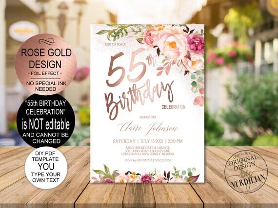 diy 55th birthday invitation template blush rose gold floral birthday celebration for women diy printable pdf instant download vrd555gsr