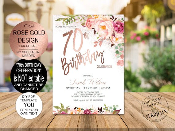 Open these free resume templates in microsoft word to create a professional resume that will get you that dream job. Diy 70th Birthday Invitation Template Blush Rose Gold Floral Etsy