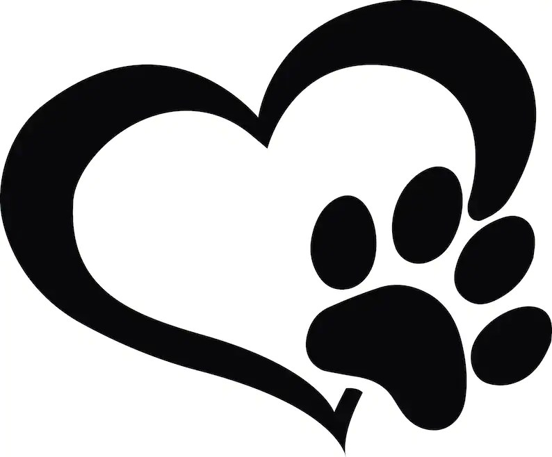 Download Dog Paw SVG Heart Paw decal dog lover SVG pet love decal ...