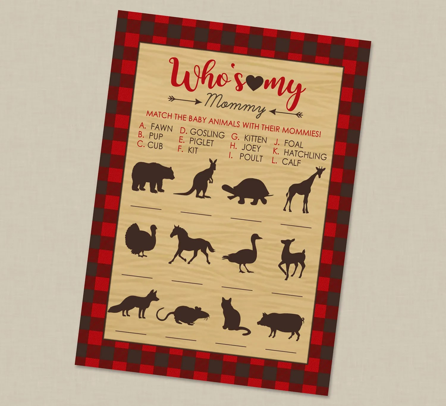 Who S My Mommy Baby Animal Plaid Mama Bear Baby Shower