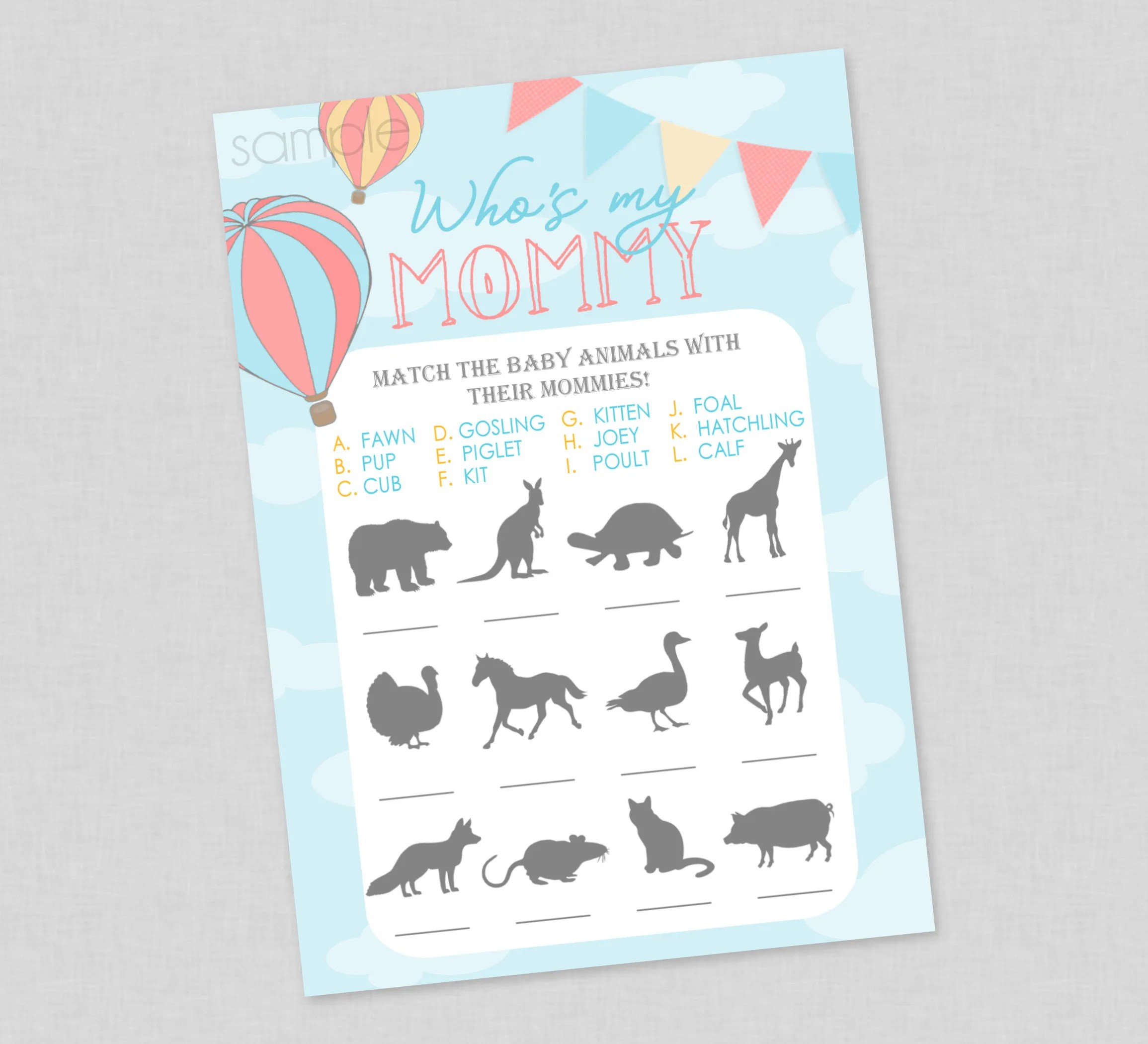 Balloon Who S My Mommy Animal Match Baby Shower Game With