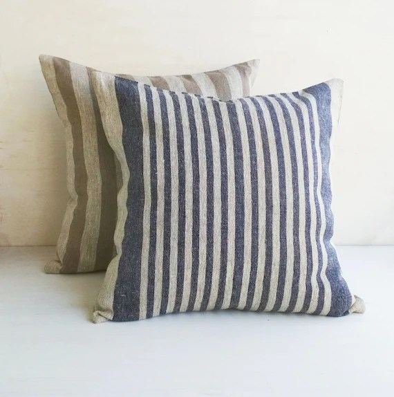 grain sack throw pillow covers 16x16 linen euro sham 26x26 burlap pillow cover 14x14 blue striped