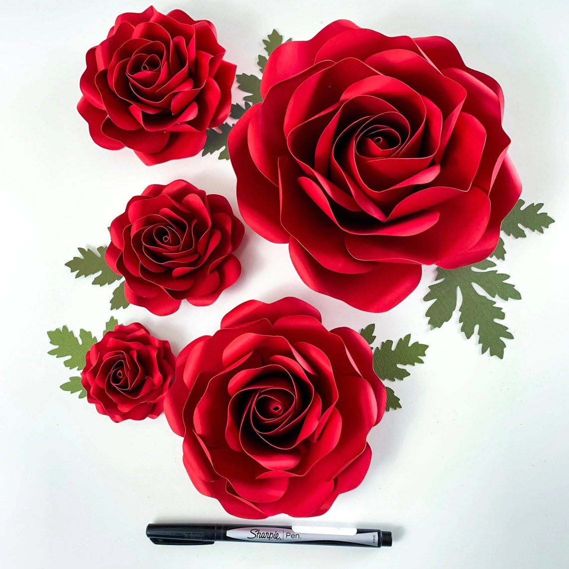 Download SVG Paper Flowers Tiny Rose #6 Template in multiple sizes ...