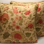 Set Of 2 18 Floral Stripe Pattern Tan Gold Green Brown And Rust Handmade Designer Throw Pillow Covers Talkingbread Co Il
