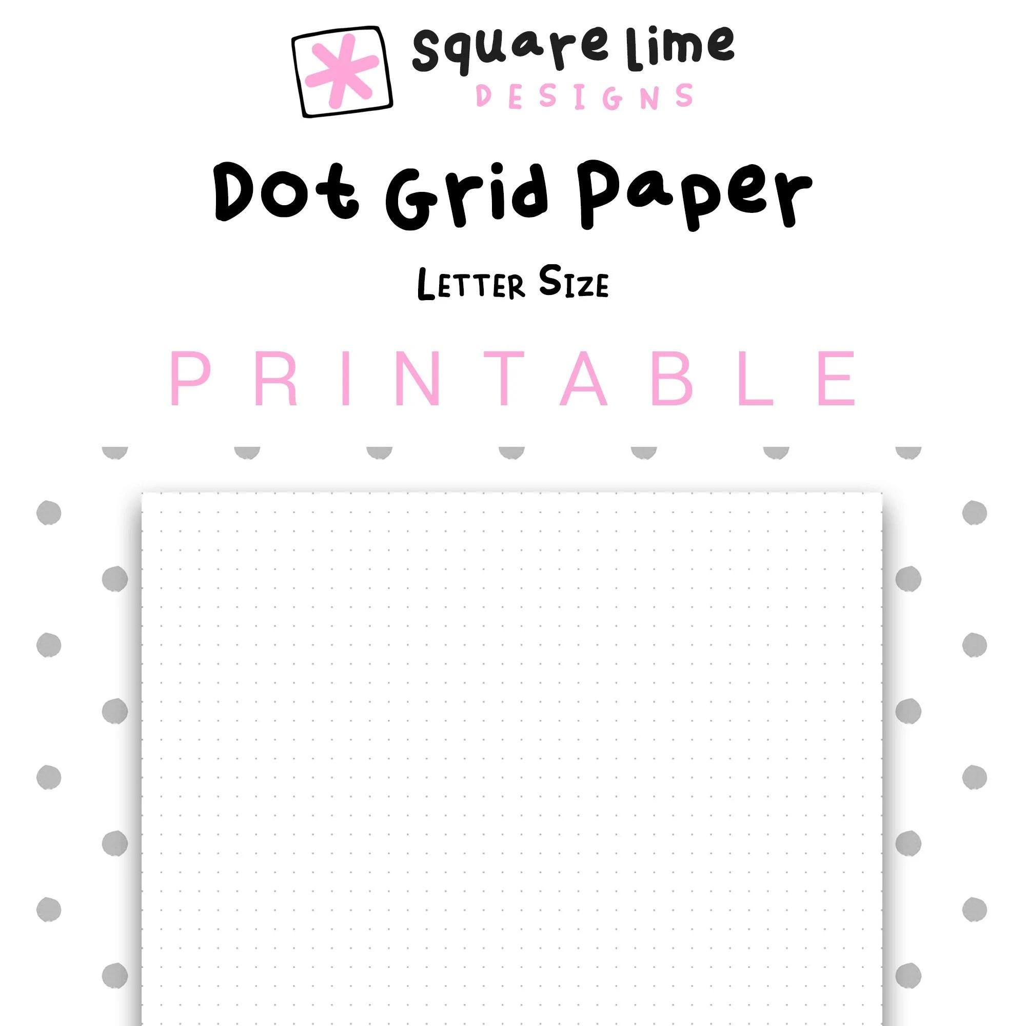 Printable Dot Grid Paper Letter Size Dotted Paper Bullet