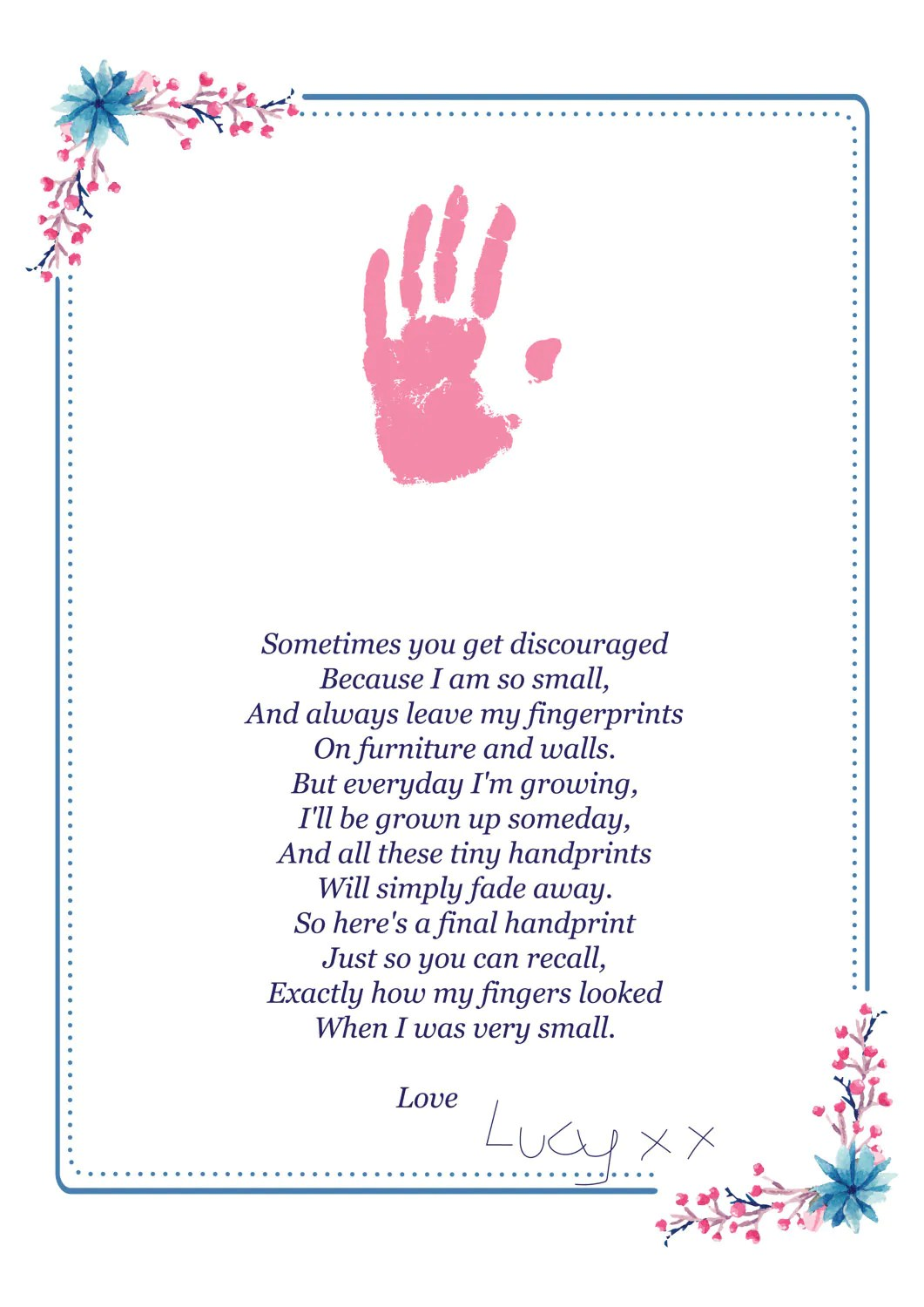 Handprint Poem Fathers Day T Digital Download A4 And A3