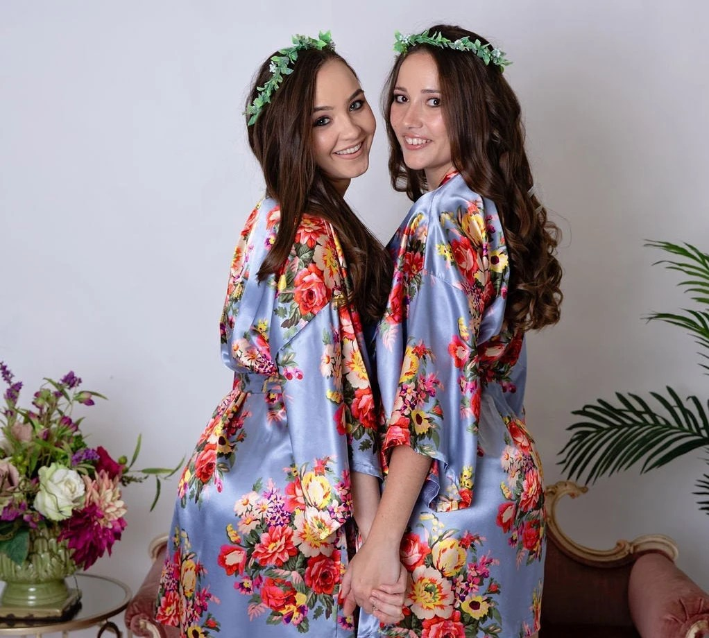 Sale Silk Bridesmaid Robes  Bridesmaid Gifts  Floral Robe  image 1