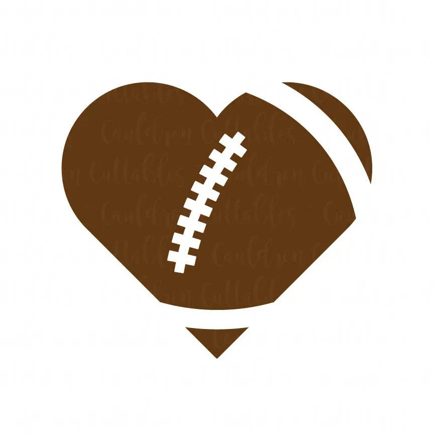 Download Heart Football SVG File Love Football Clipart Heart Shaped ...