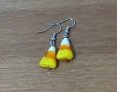 Candy Corn Bead Dangle Earrings
