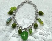 Lime Green Glass Bead Charm Bracelet