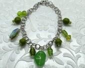 Lime Green Glass Bead Charm Bracelet